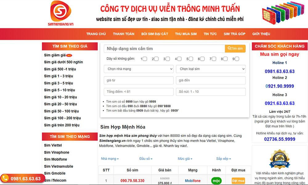 Chọn loại sim số phù hợp nhờ các thông tin được cập nhật tại Sim Tiền Giang